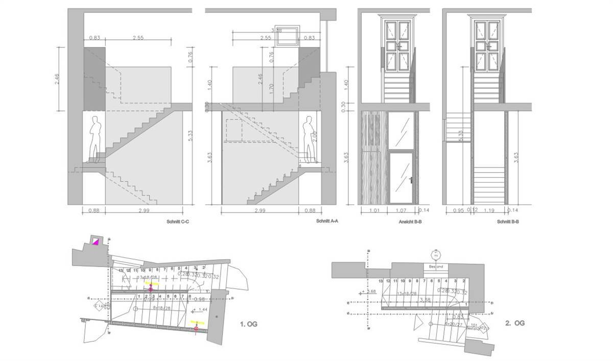 Section and views of the new staircase (© Stuflesser)
