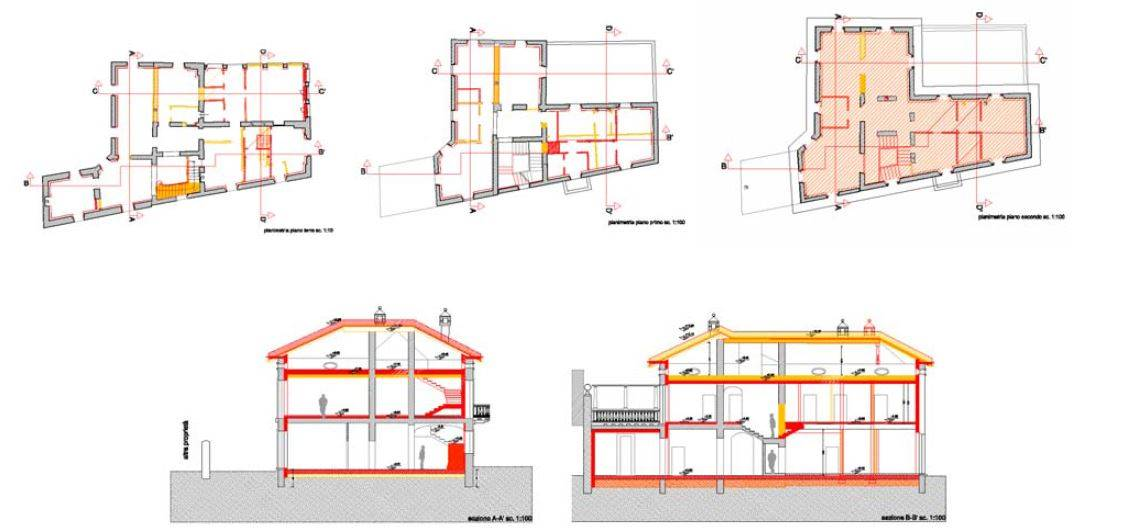 Villa Castelli: ground plans and sections with demolition/new construction in 1:100, © Valentina Carì
