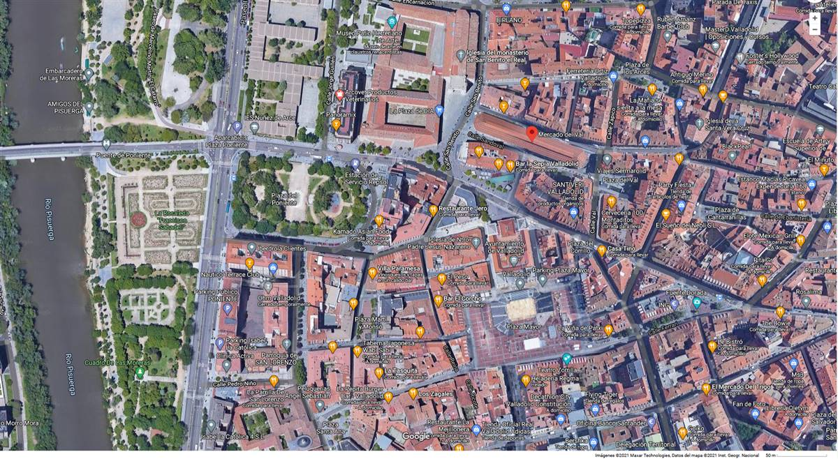 Urban environment of the market (Google Maps, 2021: Imágenes ©2021 Maxar Technologies, Datos del mapa @2021 Inst. Geogr. Nacional)