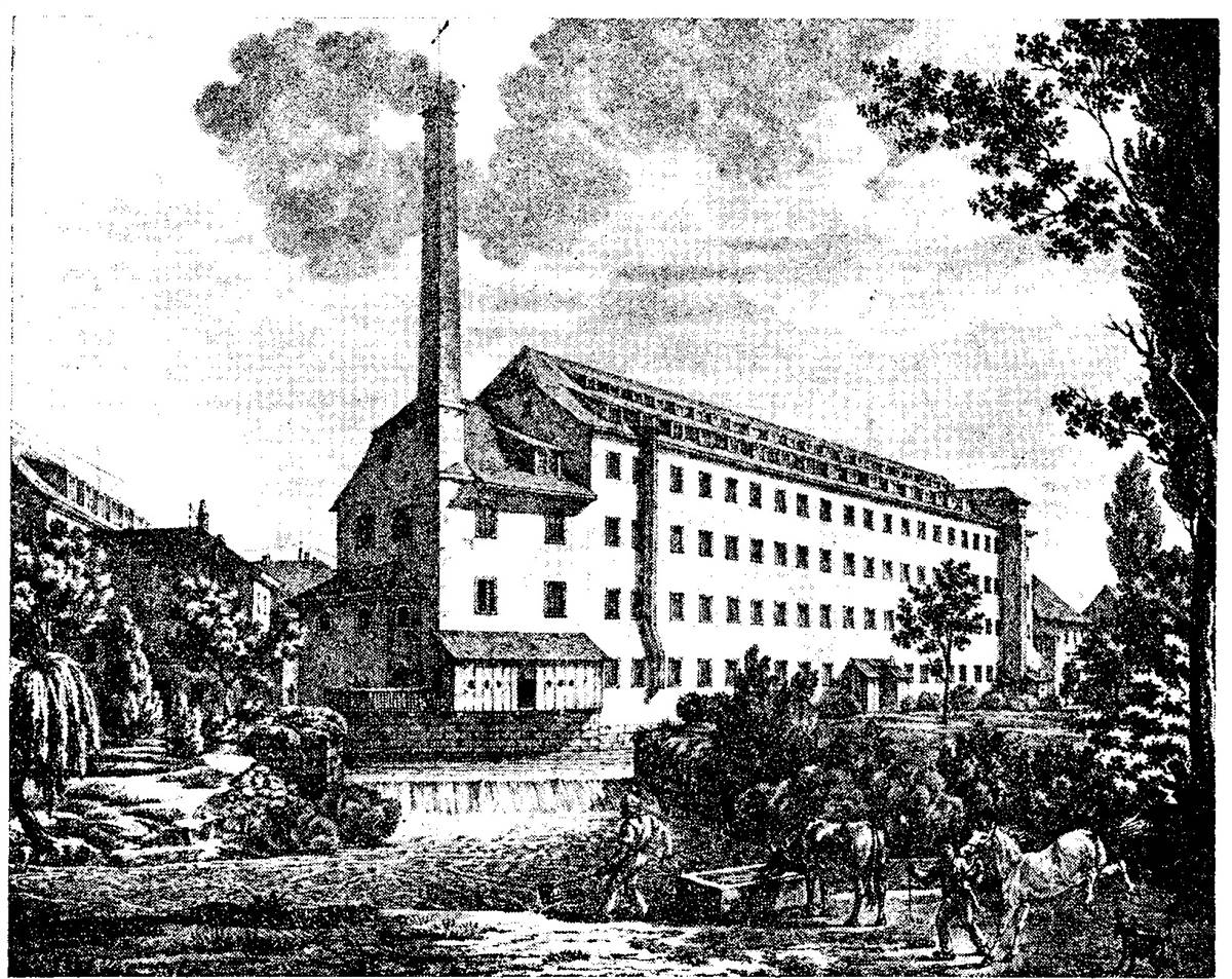 Engraving of the spinning factory (author : Engelmann, 1823)